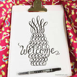 Pineapple Welcome Print Tropical Home Decor Modern Calligraphy Hand Lettered Hawaii Print Traditional Symbol of Welcome Brush Lettering