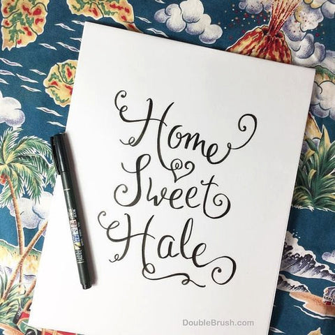 Home Sweet Home in Hawaiian Home Sweet Hale Calligraphy Art Hand Lettered Print Hawaii Art Hawaii Decor Modern Calligraphy Wall Art