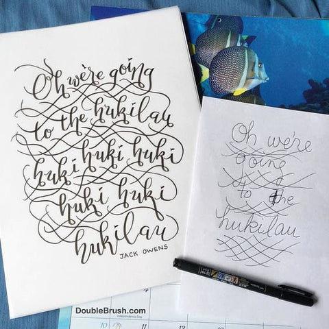 The Hukilau Song By Jack Owens Hand Lettering Modern Calligraphy Hawaii Print Tropical Home Decor Fish