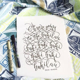The Hukilau Song by Jack Owens Hand Lettering Modern Calligraphy Hawaii Print Tropical Home Decor Fish Fishes Fishing Beach Party Fisherman