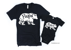 Papa Bear Baby Bear Matching Family Shirts - Sold Separately