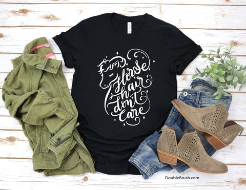 Pretty Horse Shirt, Horse Hair Don't Care Tshirt, Horse Quote Unique Gifts, Aesthetic Animal Art On Tees, Fun Equestrian T Shirt, Barn Life