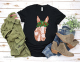 Christmas Donkey Shirt, Quirky Whimsical Sweet Soft Donkey with Christmas Holly Crown for Animal Lover Gift, Cute Donkey Girl Gift for Woman