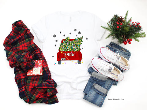Christmas Tree T-Shirt, Red Vintage Farm Truck, Snowing Winter Holiday Tee, Charmed & Inspirational Graphic, Joyful Nostalgia Xmas Theme