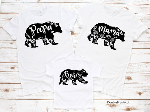 Floral Mama Bear Family Shirts, Papa Baby Bear Shirt, Papa & Mama Bear Tee, Bear Tshirt Matching New Family Outfit Set Gift for Photograph