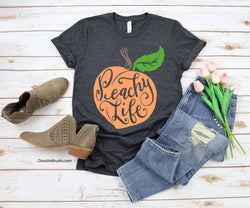 Peach Tshirt Peachy Life Shirt Graphic Tee in Color or Black Design