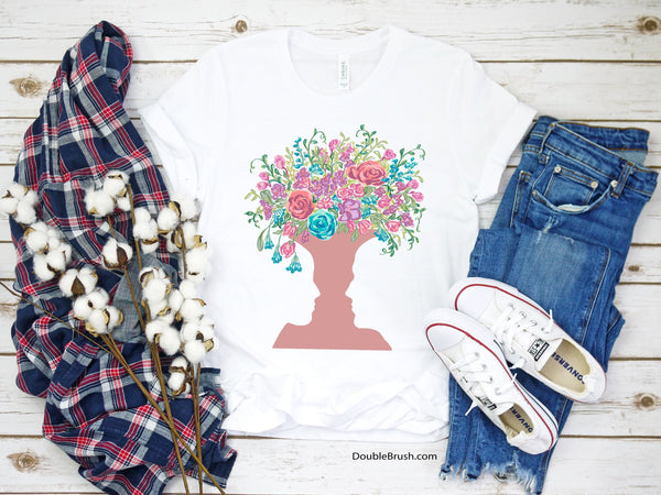 Conversation Love Flower Bouquet Face Vase, Original Romantic Tshirt