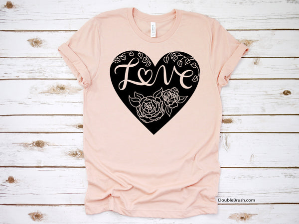 Peonies Love Heart Shirt, Peony Flowers Valentines Day Tshirt