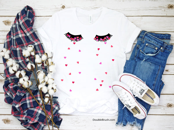 Valentines Tee Love & Heartache Heart Tears Eyelashes Shirt