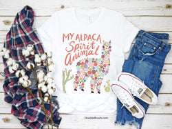 Alpaca Is My Spirit Animal T-shirt - Unique Colorful Graphic Tee