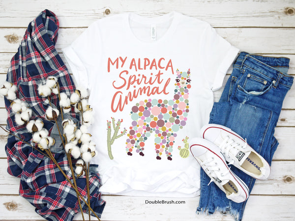 Alpaca Is My Spirit Animal Tshirt - Unique Colorful Graphic Tee