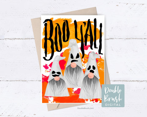 Cute Halloween Gnome Cards, Halloween Card Kits, Boo Y'All Halloween Gnomes Printable, Funny Halloween Ghost Card Instant Download CHD015