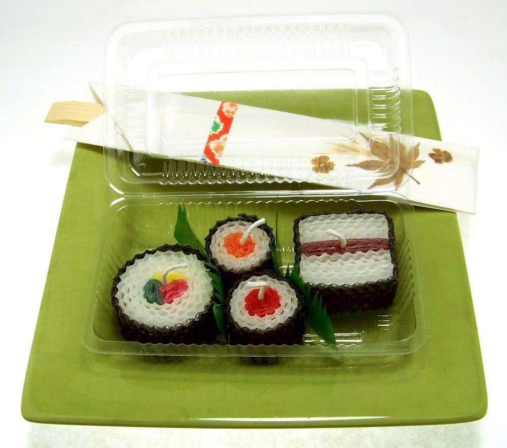 Japanese Home Decor Store: Handmade Sushi Gift Candles 4 Assorted