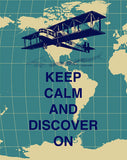 Keep Calm and Discover On Poster Keep Calm and Carry On Print Success Vintage Airplane Map Blue White Inspirational Art Print