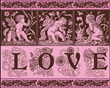 Cupid Love Art Print 3 Cherubs Valentines Day Home Decor Valentines Day Wedding Gift Valentines Day Art Print Love Chocolate Brown and Pink