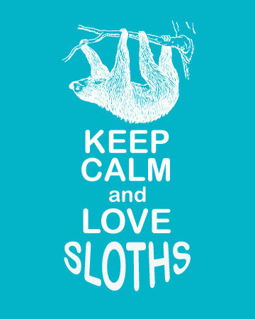 Keep Calm and Love Sloths Print - Shipping Included