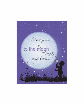 Moon Print I Love You to the Moon and Back Moon Nursery Art Nursery Print Gender Neutral Print Child Blowing Bubbles Artwork