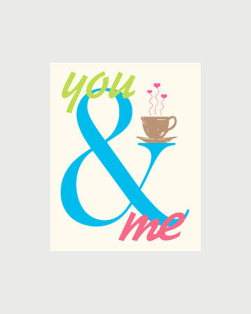 You and Me Print Ampersand Sign Love Tea Coffee Ampersand Decor Drinking Together Tea Kitchen Wall Art Coffee Poster Home Decor Kitchen Gift
