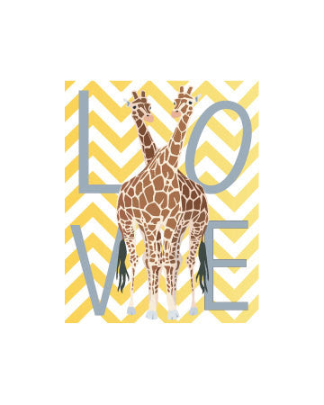Giraffes Art Print Giraffe Friends Yellow White Chevron Stripes Love Giraffes Home Decor Modern Nursery Decor Wild Animals Africa Poster