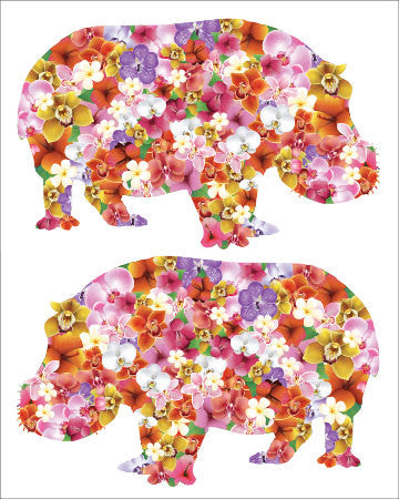 SALE Tropical Flowers 2 Hippos Print