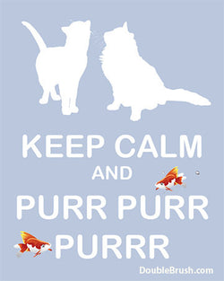 Keep Calm and Purr White Cats Wall Art Print