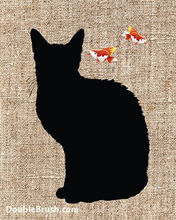 SALE Black Cat Silhouette with Goldfishes Print