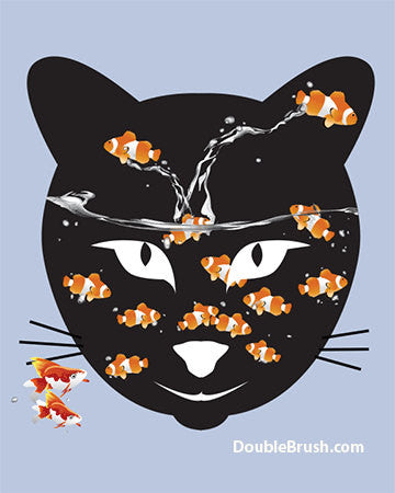 SALE Black Cat Face with Goldfishes Print