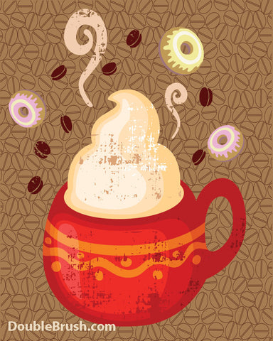 Coffee and Donuts Illustration Print