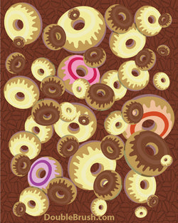 Glazed Donuts Illustration Food Print