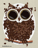 Coffee Art Print Coffee Owl Coffee Bean Art Coffee Decor Coffee Gift Coffee Home Decor Coffee Kitchen Decor Fun Kitchen Owl Decor