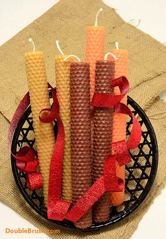 Fall Candles Set 6 Autumn Beeswax Candle Tapers Brown Orange Tan