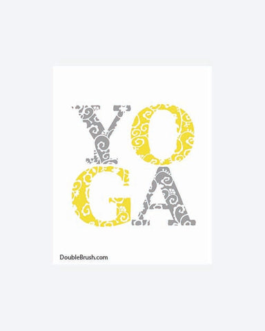 Yoga Print Yoga Gift Yoga Wall Decor Yoga Gray and Yellow Vine Type Yoga Art Print Yoga Type Word Typography