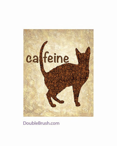 Cat Print Coffee Print Coffee Poster Cat and Coffee Gift for Cat Lovers Cat Home Decor Coffee Cat Kitchen Decor Cat Illustration Coffee Bean