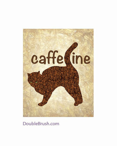 Coffee Bean Cat Print Coffee Animal Kitchen Coffee Art Gift for Coffee Lover Cat Lover Gift Caffeine Poster Illustration Coffee Sign Java