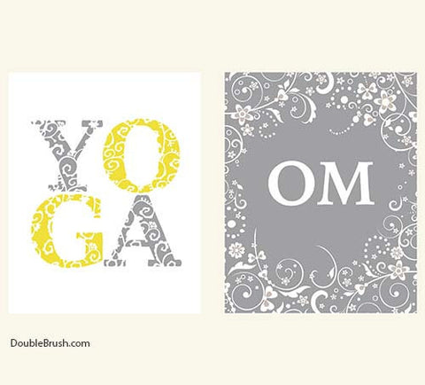 Yoga Gift Om Yoga Print Set of 2 Yoga Art Yoga Decor Typography Art Print Quote Art Print Inspirational Quote Art Print Yoga Inspired