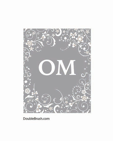 Om Yoga Print Yoga Art Print Yoga Gift Meditation Art Yoga Inspired Om Art Om Wall Art Yoga Home Decor Yoga Studio Decor Gray Grey White