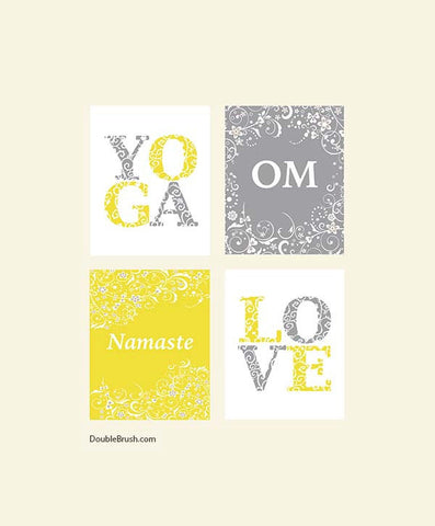 Yoga Home Decor Yoga Inspired Prints Set of 4 Love Yoga Om Namaste Yoga Art Print Wall Art Poster Sign Illustration Yoga Gift Studio Decor