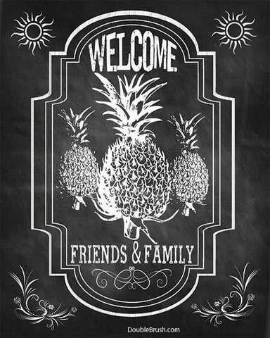 Welcome Pineapple Home Decor Chalkboard Style Wall Art Print