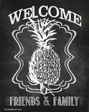 Welcome Sign Chalkboard Art Welcome Decor Pineapple Chalkboard Print Welcome Gift Chalkboard Wall Decor Welcome Wall Art Welcome Print