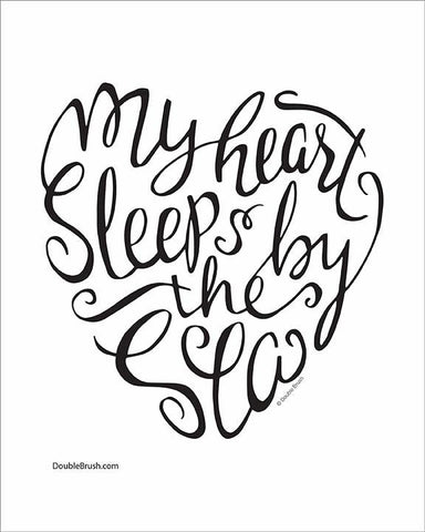 My Heart Sleeps by the Sea Beach Sign Beach Decor Print