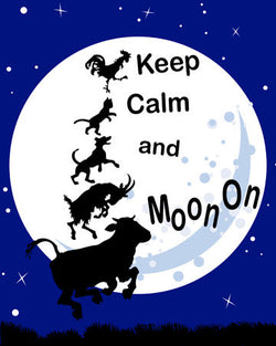 Keep Calm and Moon On Funny Nursery Farm Animals Print