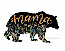Mama Bear with Wildflowers Poster Print - Shipping Included