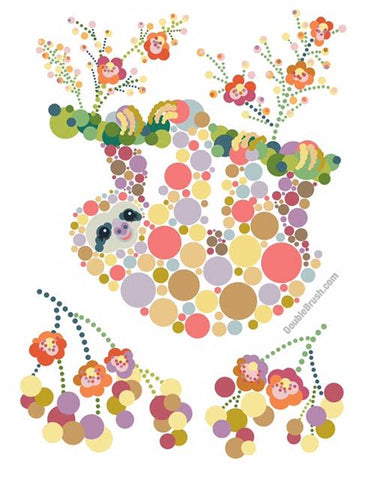 Sloth Colorful Graphic Print Circles Dots Bubbles - Shipping Included