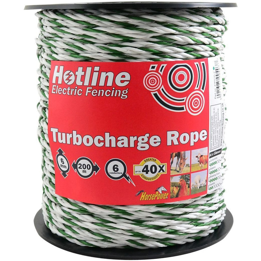 Hotline Supercharge Electric Fence Rope - 6 Strand-Equestrian Co.