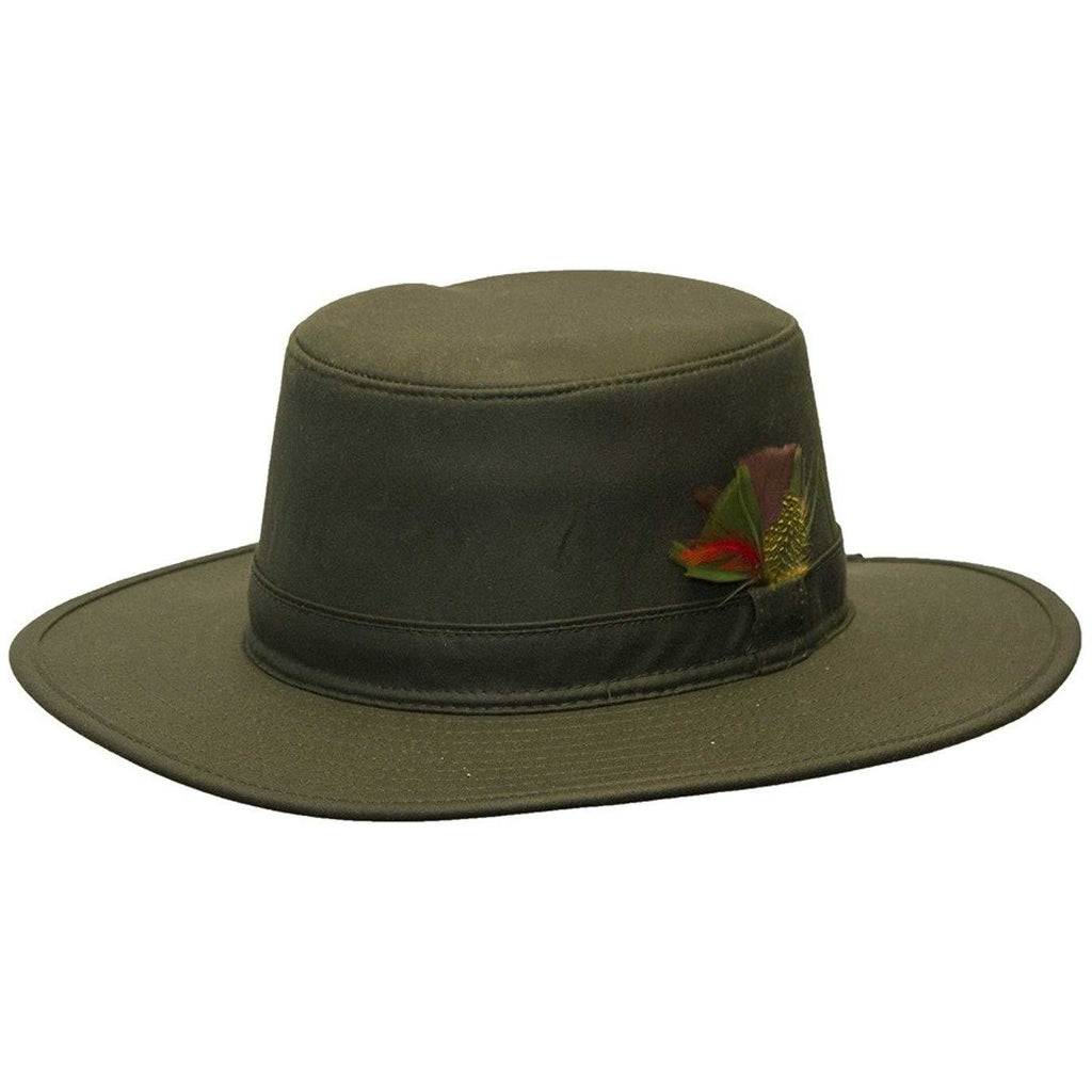 Walker & Hawkes Unisex Olive Wax Outback Aussie Wide Brim Hat-Equestrian Co.