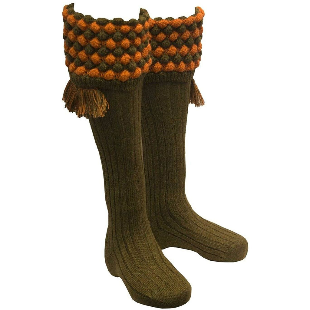 House of Cheviot Men's Bracken & New Cinnamon Angus Shooting Socks-Equestrian Co.