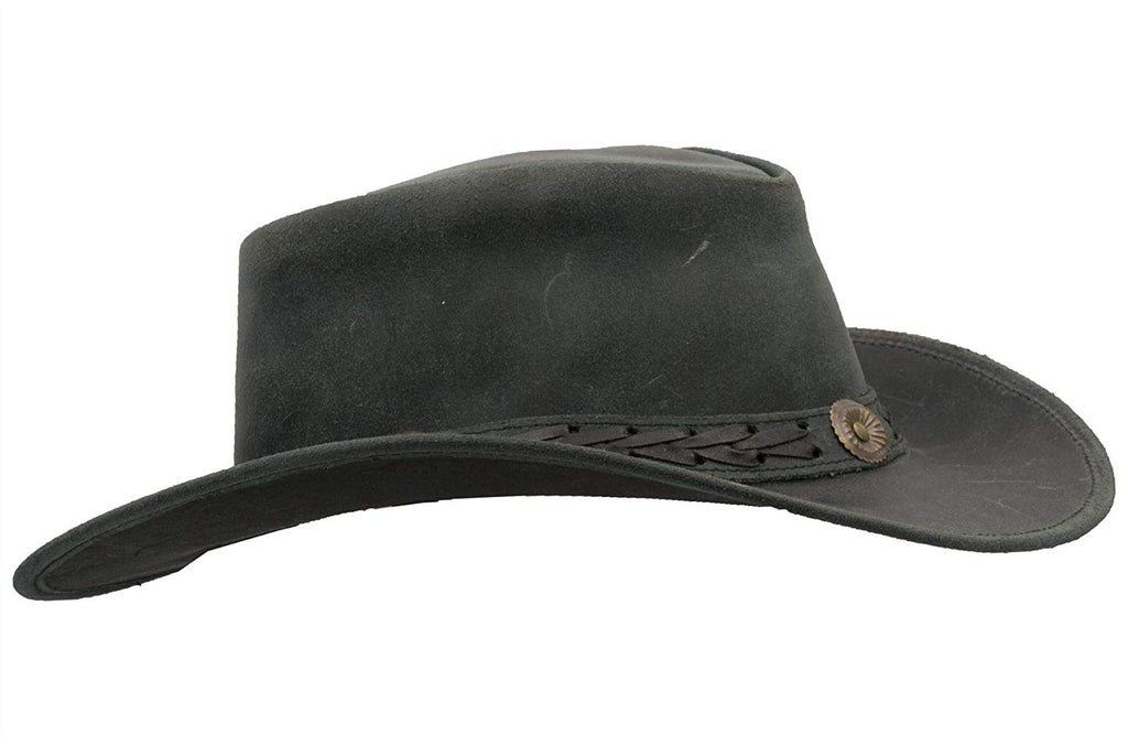 Walker & Hawkes Unisex Black Leather Cowhide Outback Antique Hat