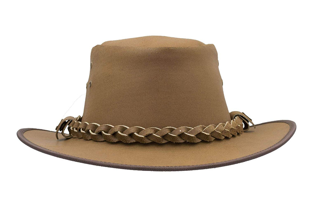 Walker & Hawkes Unisex Tan Leather Outback Braided Traveller Hat