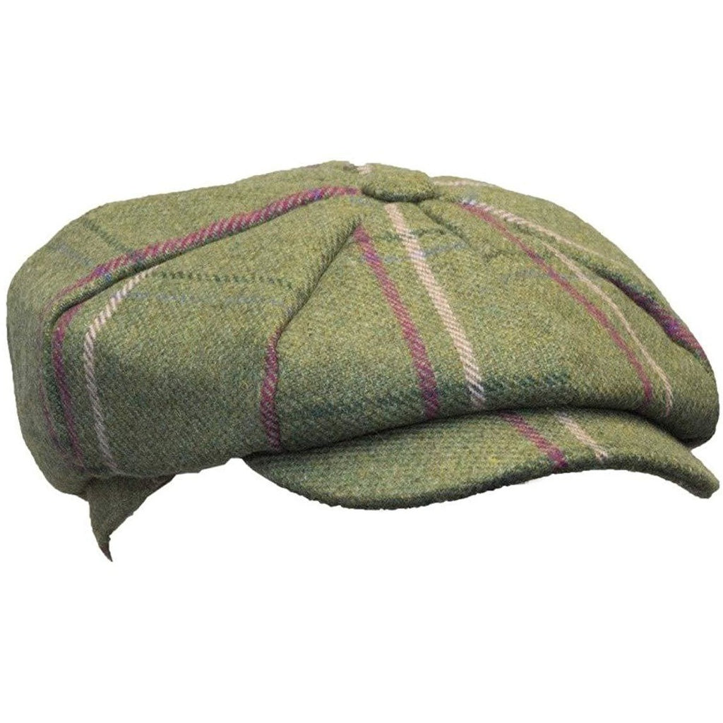 Walker & Hawkes Ladies' Pink Stripe Baker Boy Tweed Cap / Hat