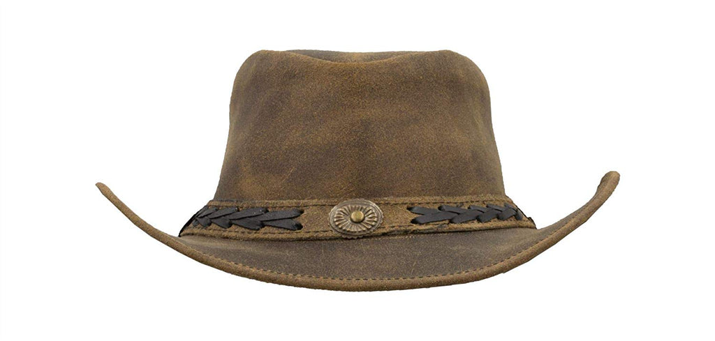 Walker & Hawkes Unisex Light Brown Leather Cowhide Outback Antique Hat